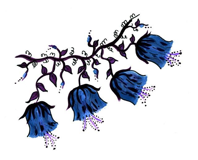 青い花の絵