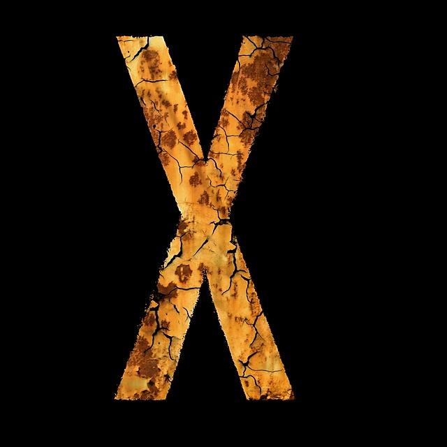アルファベットのエックス(ひび割れ)